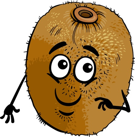 comic characters: Cartoon Illustration of Funny Kiwi Fruit Food Comic Character Illustration