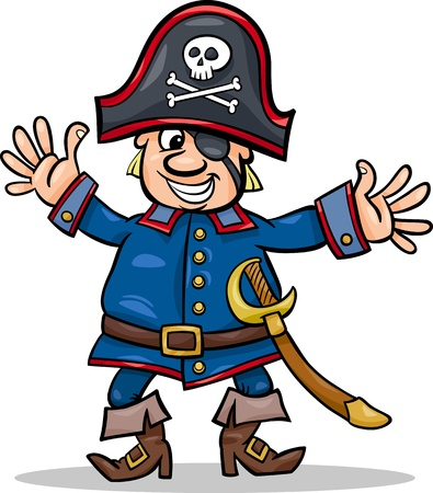 eye patch: Cartoon Illustration of Funny Pirate or Corsair Captain with Eye Patch and Jolly Roger