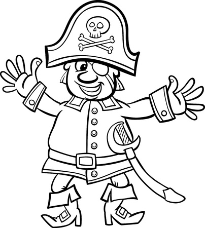 Black and White Cartoon Illustration of Funny Pirate Captain with Eye Patch and Jolly Roger for Coloring Book for Children Vector