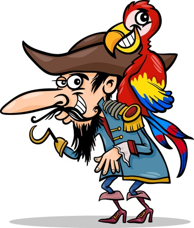 macaw parrot: Cartoon Illustration of Funny Pirate or Corsair with Hook and Parrot