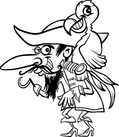 Black and White Cartoon Illustration of Funny Pirate or Corsair with Hook and Parrot for Coloring Book for Children Vector