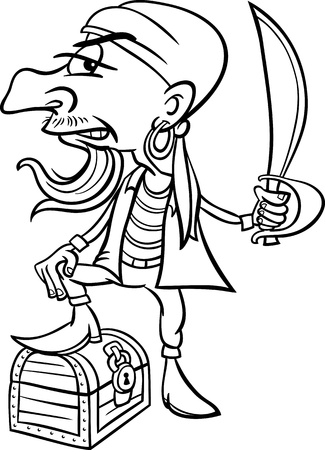 corsair: Black and White Cartoon Illustration of Funny Pirate or Corsair with Sword and Treasure for Coloring Book for Children Illustration