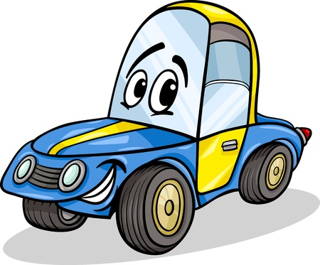 Cartoon Illustration of Funny Racing Car Vehicle Comic Mascot Character Illustration