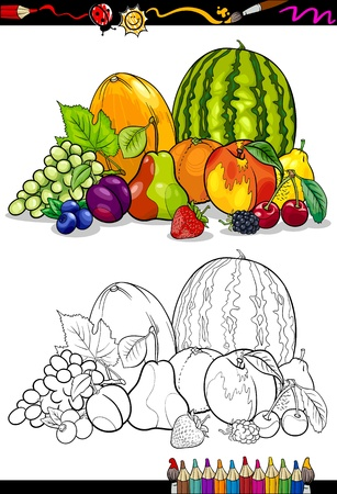 Coloring Book Or Page Cartoon Illustration Of Fruits Food Group For Children Education Vector