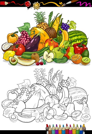 coloring book pages: Coloring Book or Page Cartoon Illustration of Fruits and Vegetables Big Food Group for Children Education Illustration