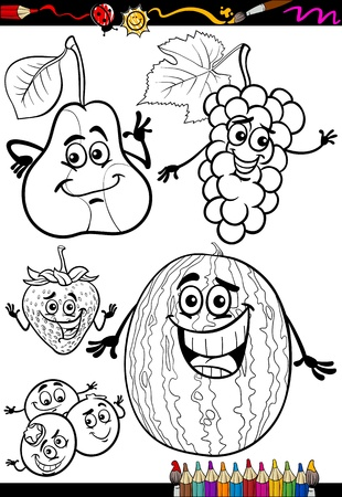 Coloring Book or Page Cartoon Illustration of Black and White Fruits Food Comic Characters Set for Children Education Vector
