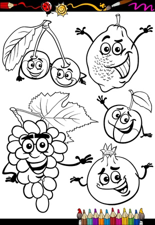 Coloring Book or Page Cartoon Illustration of Black and White Fruits Food Comic Characters Set for Children Education