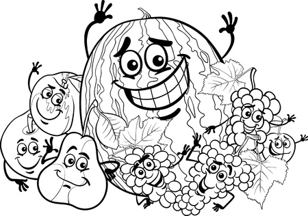 Black and White Cartoon Illustration of Funny Fruits Food Characters Group for Coloring Book for Children Vector