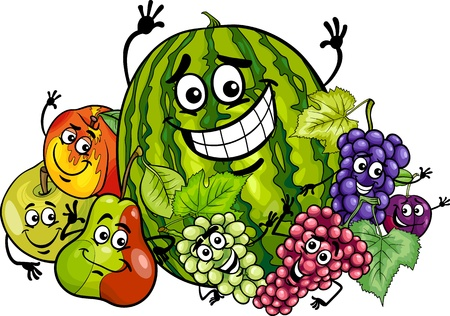Cartoon Illustration of Funny Fruits Food Characters Group Vector