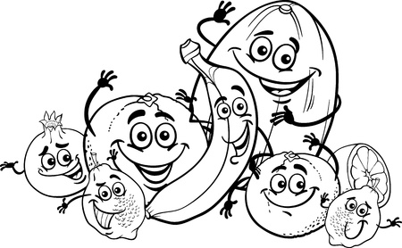 Black and White Cartoon Illustration of Funny Citrus and Tropical Fruits Food Characters Group for Coloring Book for Children Vector