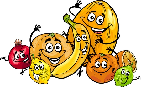 pomegranate: Cartoon Illustration of Funny Citrus and Tropical Fruits Food Characters Group
