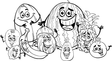 Black and White Cartoon Illustration of Funny Tropical Fruits Food Characters Group for Coloring Book for Children Vector