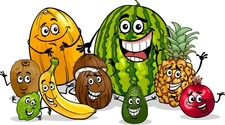 Cartoon Illustration of Funny Tropical Fruits Food Characters Group Vector