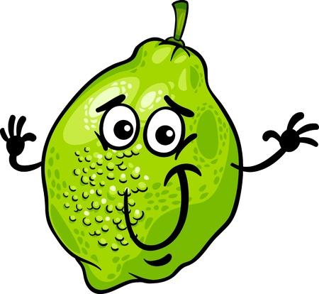 Cartoon illustratie van grappige Lime Citrusvruchten Eten Grappige Karakter Vector Illustratie