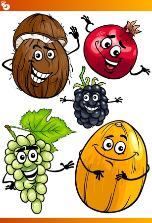 Cartoon Illustration of Funny Fruits Comic Food Characters Set Vector