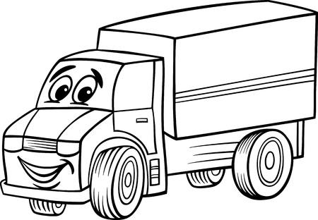 塗り絵子供のための面白いトラックまたは貨物自動車車車の漫画のマスコット キャラクターの黒と白の漫画イラスト