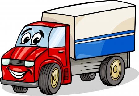 面白いトラックまたは貨物自動車車車漫画のマスコット キャラクターの漫画イラスト