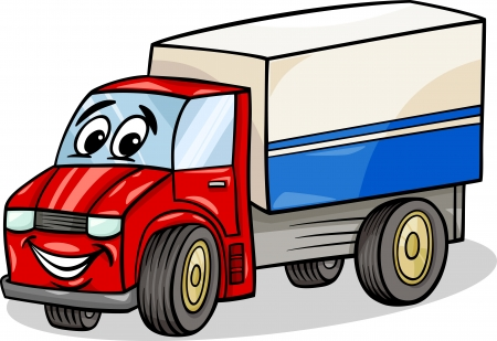 Cartoon illustratie van grappige vrachtwagen of vrachtwagen Car Vehicle Comic Mascot Karakter