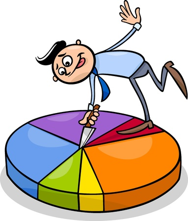 Concept Cartoon Illustration of Man or Businessman Cutting Piece of Circle Chart Vector