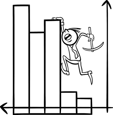 stock broker: Black and White Concept Cartoon Illustration of Man or Businessman Climbing on Chart