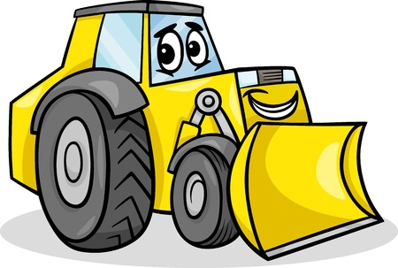 Cartoon Illustration of Funny Bulldozer Machine Comic Mascot Character Ilustração