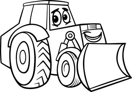 maquinaria pesada: Blanco y Negro Ilustraci�n de dibujos animados de Funny Bulldozer Machine Comic car�cter de la mascota de la Infancia para Coloring Book