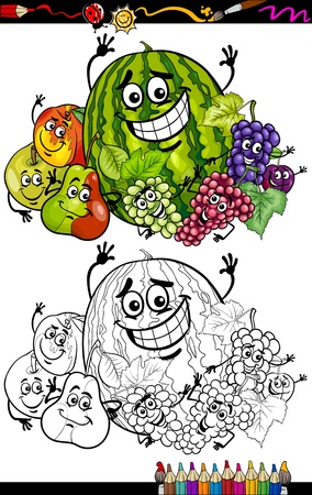 Coloring Book or Page Cartoon Illustration of Funny Fruits Comic Food Characters Group for Children Education Vector