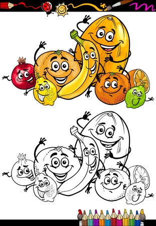 food groups: Coloring Book or Page Cartoon Illustration of Funny Citrus Fruits Comic Food Characters Group for Children Education