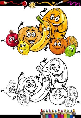 Malbuch Oder Seite Cartoon Illustration Von Schwarz Und Weiß Früchte ...