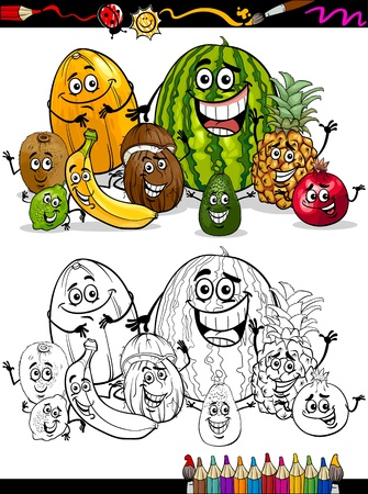Coloring Book or Page Cartoon Illustration of Funny Tropical Fruits Comic Food Characters Group for Children Education Vector