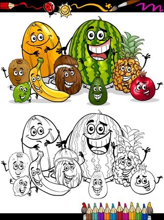 Schwarz Und Weiß Karikatur Illustration Von Banana Obst Lebensmittel ...