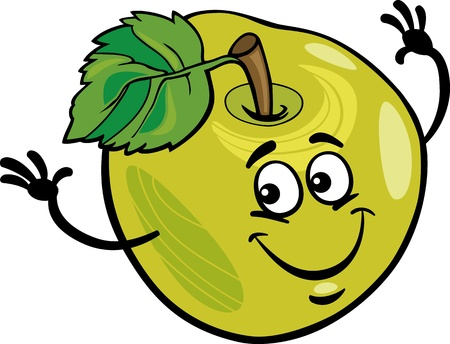 green apple: Ilustraci�n de dibujos animados de Funny Green Apple Fruit Food car�cter c�mico