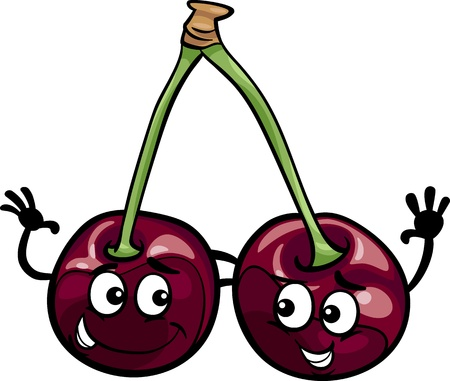 fruit clipart: Cartoon Illustration of Funny Black Cherry Fruits Food Comic Character