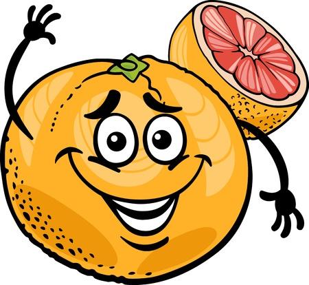 grapefruits: Cartoon Illustration of Funny Red Grapefruit Fruit Food Comic Character