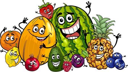 面白い果物食品文字大きなグループの漫画イラスト