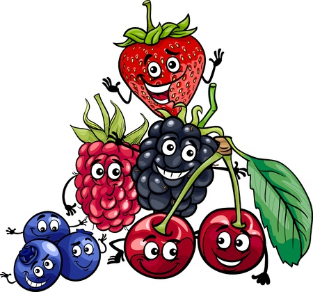 mure: Illustration de bande dessin�e dr�le de Berry Fruits alimentaire Caract�res Groupe