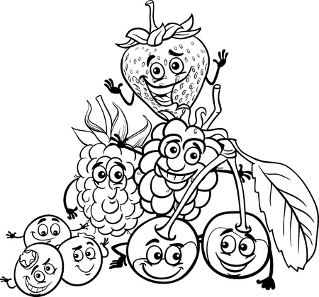 Coloring Book Or Page Cartoon Illustration Of Funny Fruits Comic ...