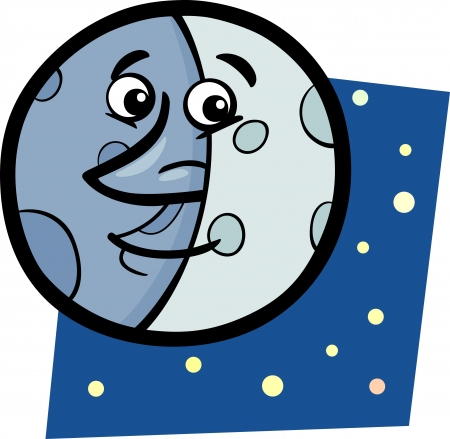 Cartoon Illustration of Funny Moon Comic Mascot Character Vector