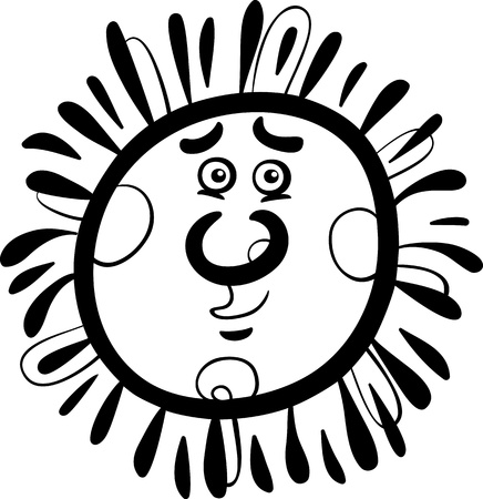Black and White Cartoon Illustration of Funny Sun Comic Mascot Character for Children to Coloring Book Stock Vector - 20483521