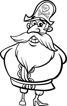 Black and White Cartoon Illustration of Funny Pirate or Corsair Captain with Peg Leg and Jolly Roger for Children to Coloring Book Vector