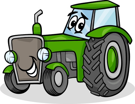 Cartoon Illustration of Funny Farm Tractor Vehicle Comic Mascot Character Ilustração