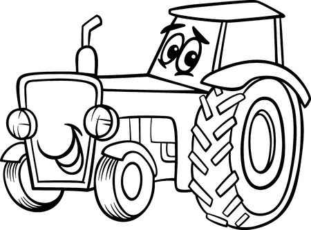 farm equipment: Black and White Cartoon Illustration of Funny Farm Tractor Vehicle Comic Mascot Character for Children to Coloring Book
