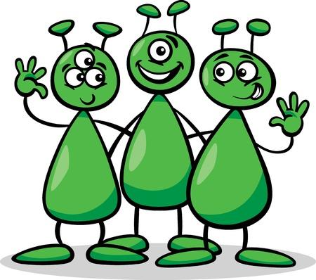 Ilustración de dibujos animados de tres extranjeros divertidos o marcianos Comic Personajes Ilustración de vector