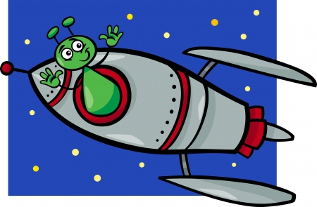 Cartoon Illustration of Funny Alien or Martian Comic Character in the Rocket or Spaceship Vector