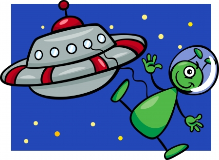 Cartoon Illustration of Funny Alien or Martian Comic Character with Flying Saucer or Spaceship or Ufo Vector