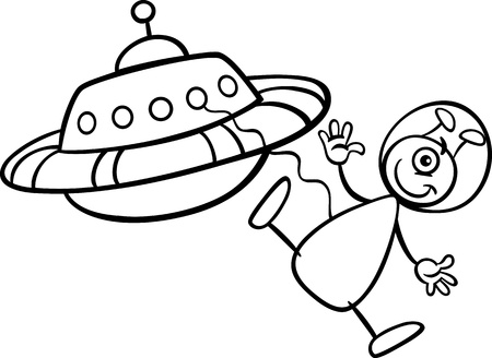 Black and White Cartoon Illustration of Funny Alien or Martian Comic Character with Spaceship or Ufo for Coloring Book Vector