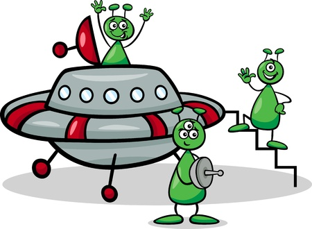 Cartoon Illustration of Three Funny Aliens or Martians Comic Characters with Ufo or Spaceship Vector