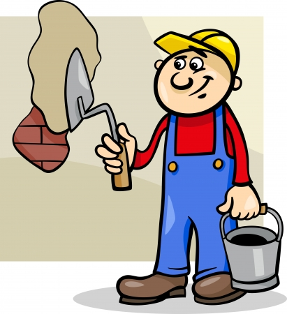 男性労働者またはこて塗りレンガ壁を持つ労働者の漫画イラスト