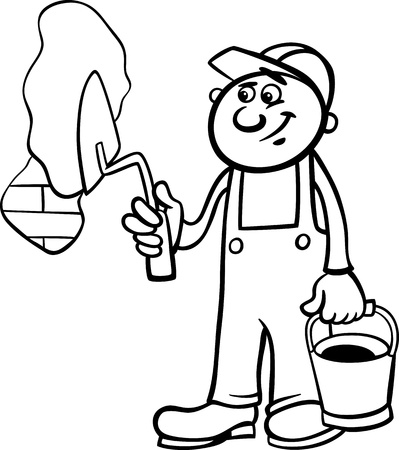 trowel: Black and White Cartoon Illustration of Man Worker or Workman with Trowel Plaster Brick Wall for Children to Coloring Book