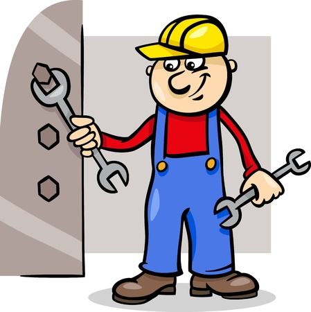 Cartoon Illustration of Man Worker or Workman Screw Down a Bolt with Wrench Vector